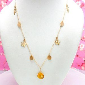 14k gold filled citrine seahorse starfish necklace